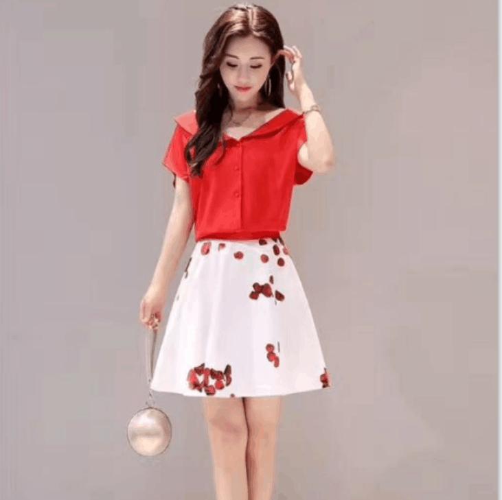 联萌服饰 时尚印花a字裙套装两件套 图片色 M