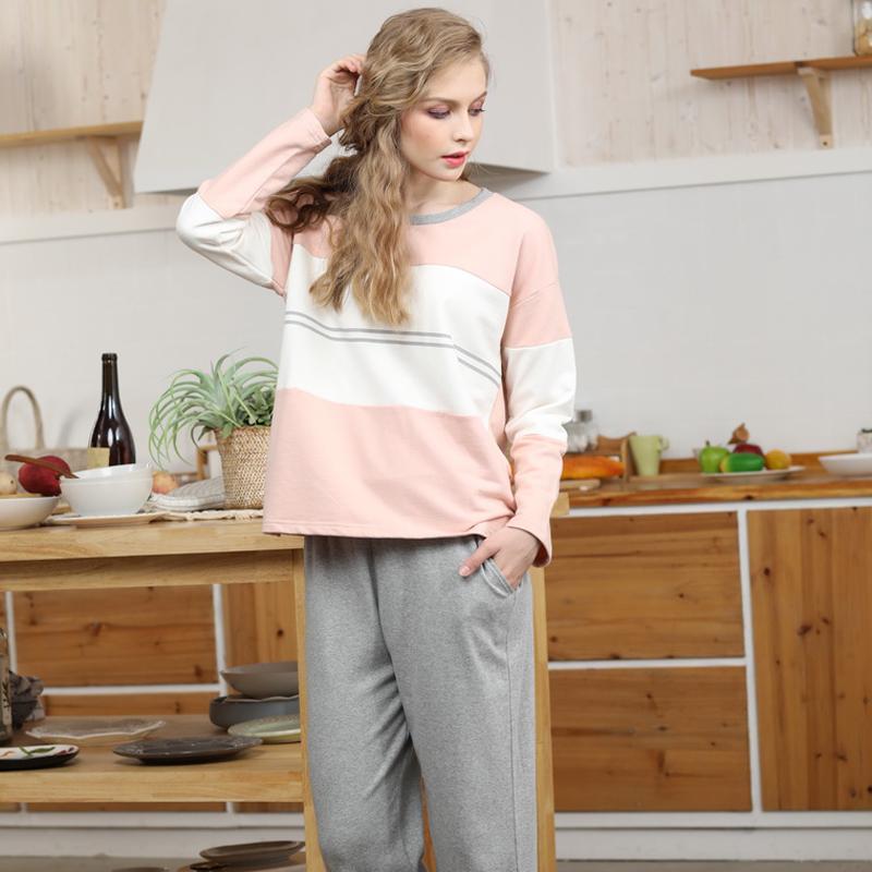 【Miuey】家居服女纯棉休闲拼接睡衣套装 3626#粉色 L
