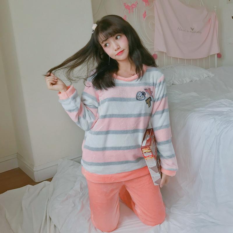 【Miuey】家居服女法兰绒love小鸟睡衣 2217粉色 M