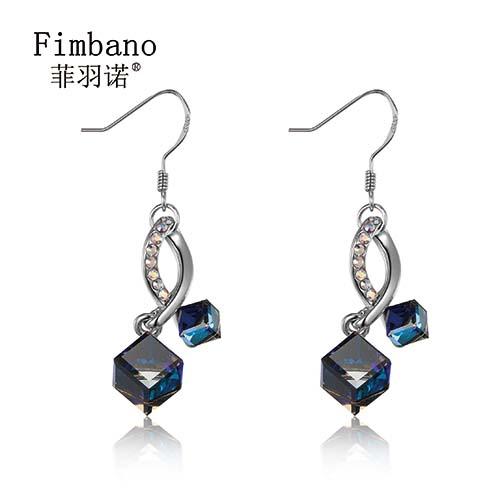 菲羽诺(Fimbano)-知性系列施华洛世奇元素奥地利水晶方糖拼接耳钉耳环耳针 蓝光-18 水晶耳环