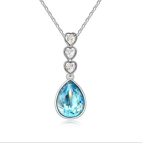 克拉莉莎采用施华洛世奇元素水晶项链 岁月如歌 蓝色 水晶